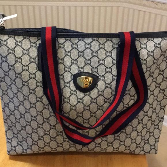 f10ad044b455f5 Gucci Bags   Vintage Plus Canvas Tote   Poshmark